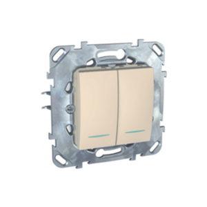 Двухклавишный Выключатель 2Мод С Инд. Ламп Бежевый Schneider Electric MGU5-0101-25NZD