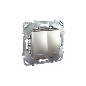 Двухклавишный Выключатель 2Мод с инд. ламп Алюминий Schneider Electric MGU5-0101-30NZD