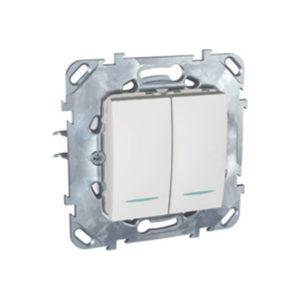 Двухклавишный Переключатель (Сх.6+6) С Инд. Ламп Белый Schneider Electric MGU5-0303-18NZD