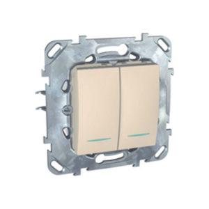 Двухклавишный Переключатель (Сх.6+6) С Инд. Ламп Бежевый Schneider Electric MGU5-0303-25NZD