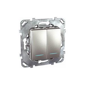 Двухклавишный Переключатель (Сх.6+6) с инд. ламп Алюминий Schneider Electric MGU5-0303-30NZD