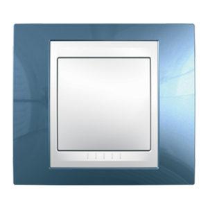 Рамка 1 Место, Хамелеон Голубой Лед/ Белый Schneider Electric MGU6-002-854