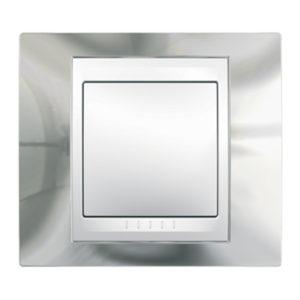 Рамка 1 Пост Серебро Белая Вставка Schneider Electric MGU66-002-810