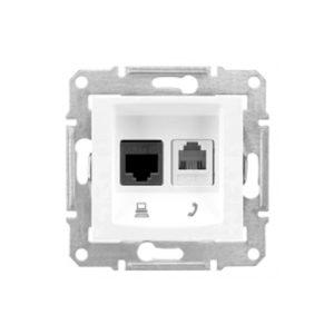 Телефонная+Компьютерная Розетка Кат. 6 Utp, Белый Schneider Electric SDN5200121