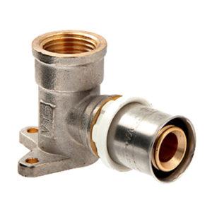 Пресс-фитинг – угольник с креплением (водорозетка) VTm.254.N