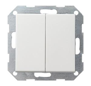 Двойной выключатель с 4 выходами белый глянец Gira