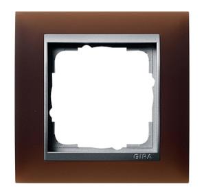 Рамка, темно-коричневая со вставкой под алюминий Gira Event