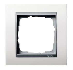 Рамка, белая матовая со вставкой под алюминий Gira Event