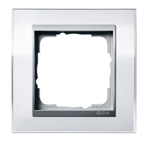 Рамка, белая со вставкой под алюминий Gira Event Clear
