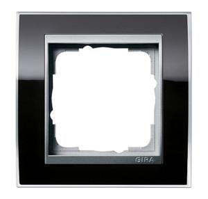 Рамка, черная со вставкой под алюминий Gira Event Clear