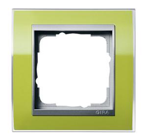 Рамка, зеленая со вставкой под алюминий Gira Event Clear
