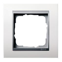 Рамка, белая глянцевая со вставкой под алюминий Gira Event