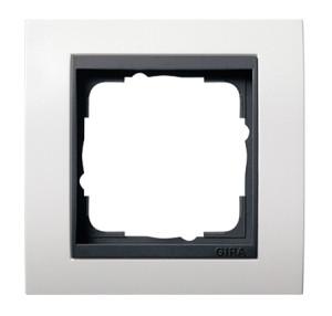 Рамка, белая глянцевая с черной вставкой Gira Event