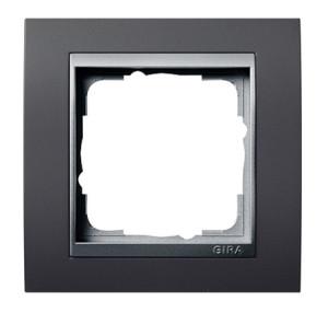 Рамка, черная со вставкой под алюминий Gira Event