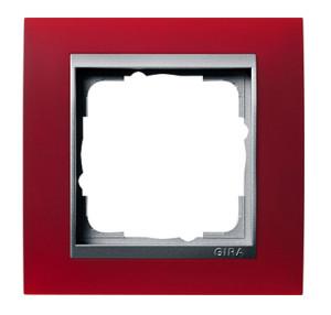 Рамка, красная со вставкой под алюминий Gira Event