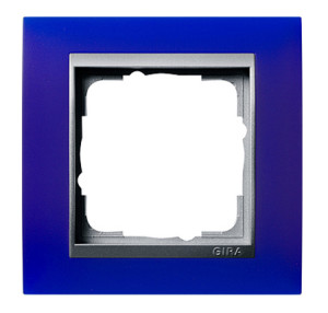 Рамка, синяя со вставкой под алюминий Gira Event