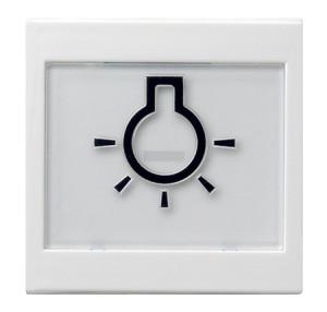 """Клавиша с полем для надписи 37*47 мм и символом """"свет"""" белый глянец Gira"""