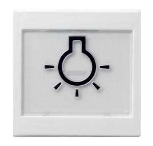 """Клавиша с полем для надписи 37*47 мм и символом """"свет"""" белый матовый Gira"""