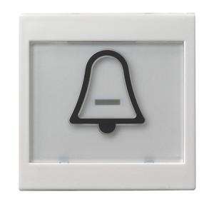"""Клавиша с полем для надписи 37*47 мм и символом """"звонок"""" белый глянец Gira"""