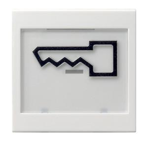 """Клавиша с полем для надписи 37*47 мм и символом """"дверь"""" белый глянец Gira"""
