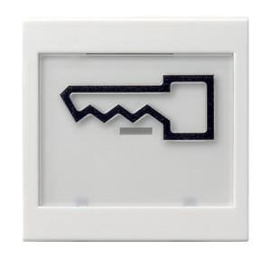 """Клавиша с полем для надписи 37*47 мм и символом """"дверь"""" белый матовый Gira"""