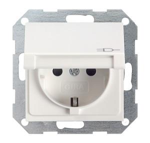 Розетка c заземляющими контактами, крышкой, с защитой от детей и пиктограммой белый глянец Gira