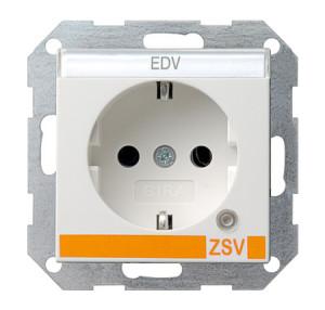 Розетка с заземляющими контактами и контрольной лампой и полем для надписи для ZSV (дополнительное обеспечение безопасности) белый глянец Gira