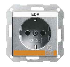 Розетка с заземляющими контактами и контрольной лампой и полем для надписи для ZSV (дополнительное обеспечение безопасности) Gira