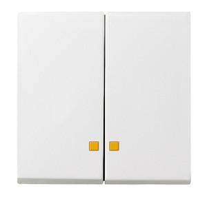 Накладка двухклавишная с контрольными окнами белый матовый Gira