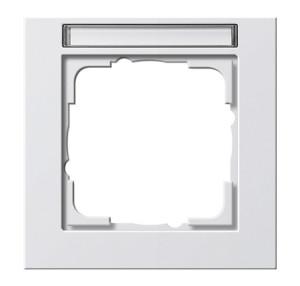 Рамка с полем для надписи, белая глянцевая Gira E2