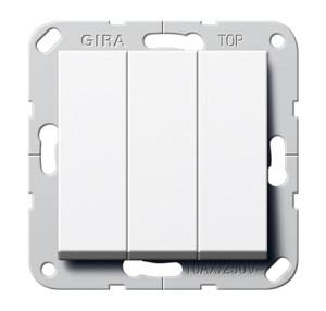 """Выключатель """"Британский стандарт"""" 3-х клавишный, ВКЛ.ОТКЛ. белый глянец Gira"""