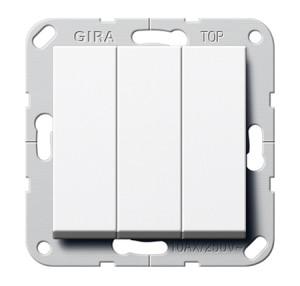 Клавишный выключатель. Переключатель 3-клавишный белый глянец Gira