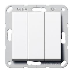 Выключатель 3-клавишный (кнопочный) с винт. клеммами белый глянец Gira